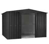 Globel Industries MetallGerätehaus 10x8 anthrazit inkl. Fenster und Sonneneinlass 295x237x203 cm (BxTxH) 7m² Satteldach