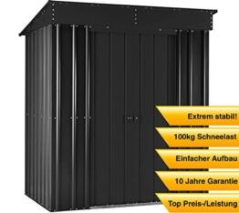 Globel Industries MetallGerätehaus 8x4 Anthrazit 246x123x198cm  2,6 m² Pultdach